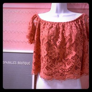 Express Coral Lace Crop Top L